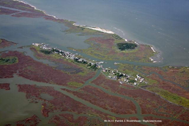 Aerial photograph of Smith Island Maryland, Rhodes Point