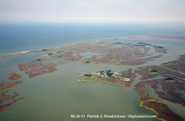 Aerial photograph of Smith Island Maryland, North View