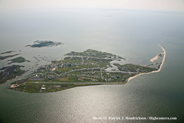 Aerial photograph of Tangier Island - East View