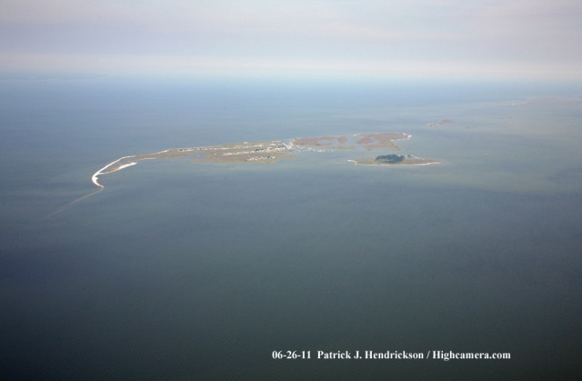 Aerial photograph of Tangier Island - West View