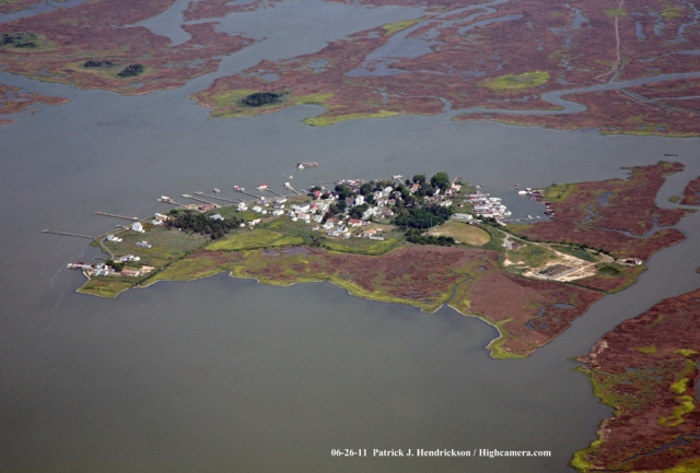 Aerial photograph of Tylerton Smith Island Maryland, Tylerton Northwest View