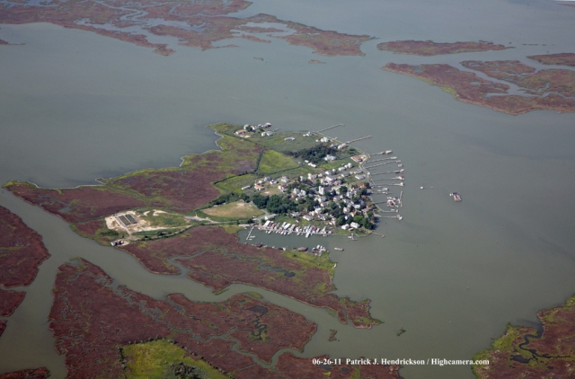Aerial photograph of Smith Island Maryland, Tylerton Southeast View