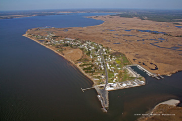 Aerial photograph of saxis island va
