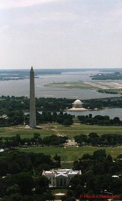 Aerial photograph of the Memorials on the Potomac